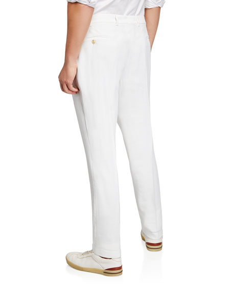 Emporio Armani Men's Flat-Front Solid-Weave Trousers