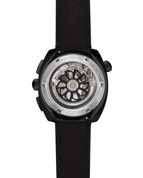 Tockr Watches Men's 45mm Air Defender Panda Chronograph Watch with Leather Strap, Black PVD