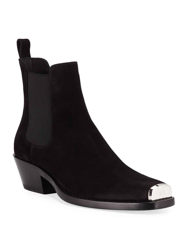 bc8d9dedf9a8 CALVIN KLEIN 205W39NYC Men's Chris Western Suede Boots | Neiman Marcus
