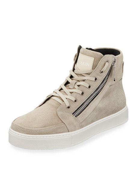Balmain Men's Suede High-Top Zipper Sneakers