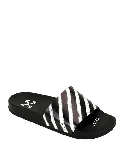 Men's Spray-Stripe Pool Slide Sandals