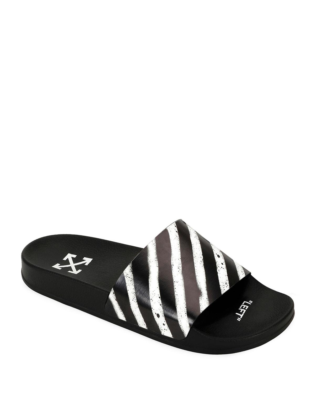 4f6a636f5f4 Off-White Men s Spray-Stripe Pool Slide Sandals