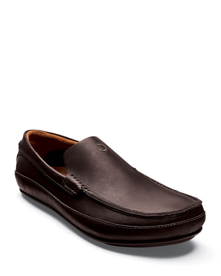 Olukai Men's Kulana Leather Slip-On Loafers, Dark Brown