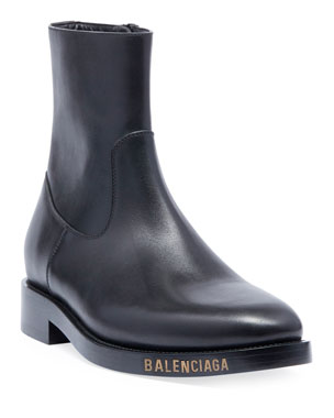 8204c645e Balenciaga Men's Leather Chelsea Boots with Stamped Logo