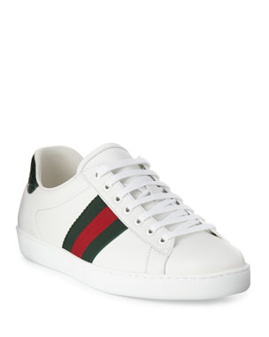 a859ac34c Gucci Men's New Ace Leather Low-Top Sneakers