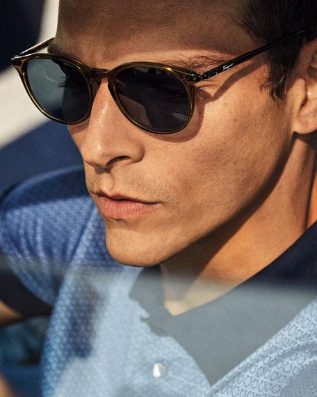 Salvatore Ferragamo Men's Timeless Thin Round Acetate Pantos Sunglasses