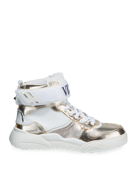 Valentino Garavani Men's High-Top Leather Sneakers w/ Grip-Strap Ankle