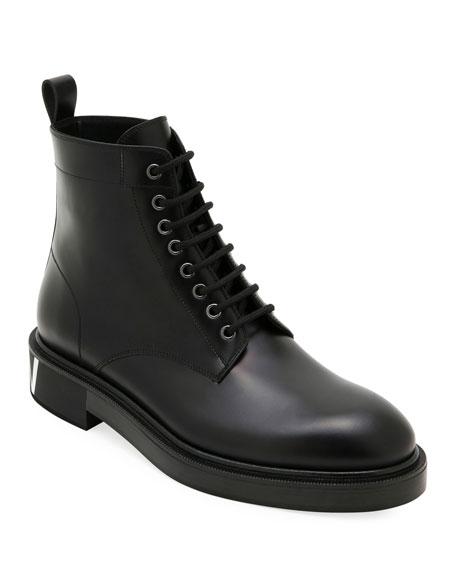 Valentino Garavani Men's Leather Lace-Up Boots