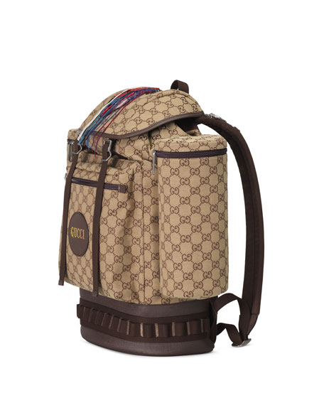 Image 2 of 4: Gucci Men's GG Canvas Flap-Top Backpack