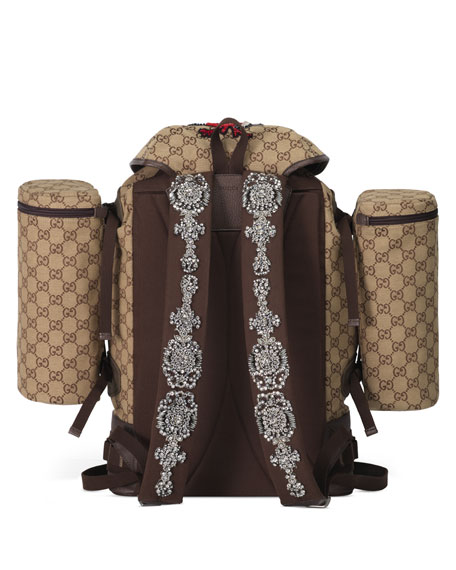 Image 3 of 4: Gucci Men's GG Canvas Flap-Top Backpack