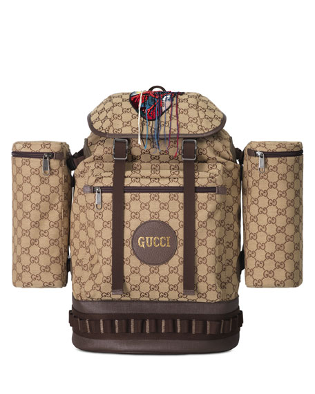 Image 1 of 4: Gucci Men's GG Canvas Flap-Top Backpack