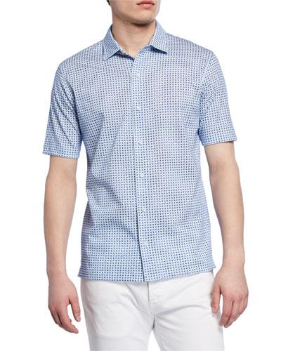 Men's Oval Geometric Short-Sleeve Sport Shirt