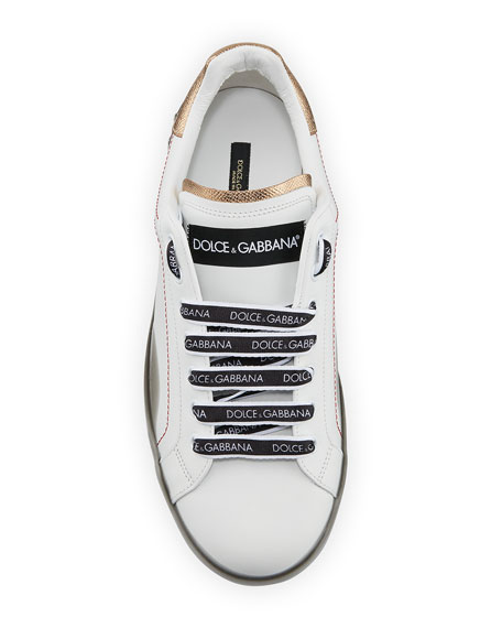 Dolce & Gabbana Men's Melt Low-Top Leather Sneakers