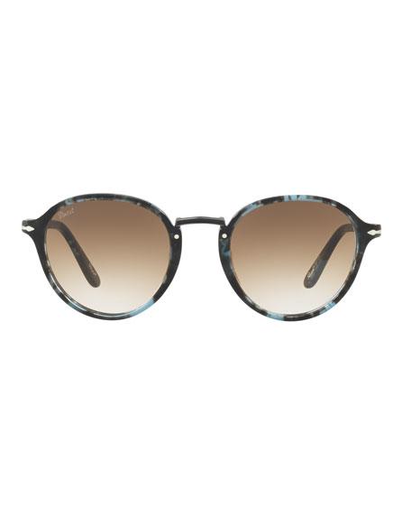 Persol Men's Round Tortoiseshell Acetate Sunglasses