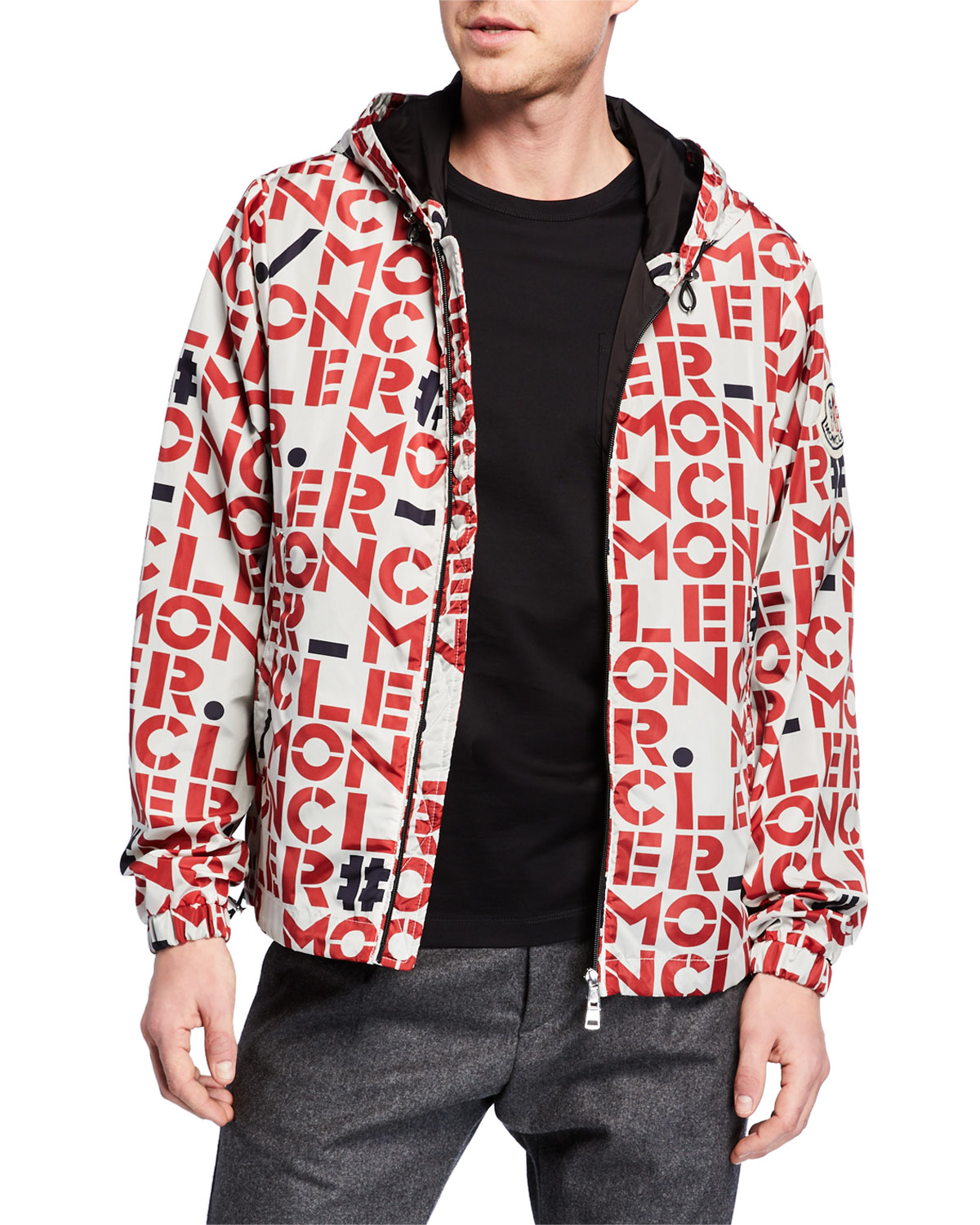 Men's Dorfman Block Logo Print Jacket by Moncler Genius