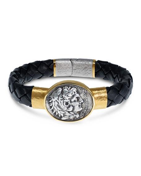 Jorge Adeler Men's Ancient Alexander The Great Coin Braided Leather Bracelet