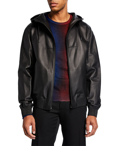 Berluti Jackets Men's Leather Zip-Front Jacket