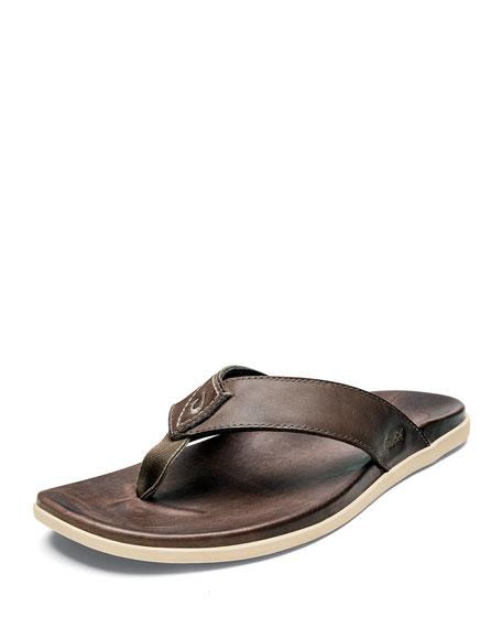 Olukai Men's Nalukai Leather Flip-Flop Sandals