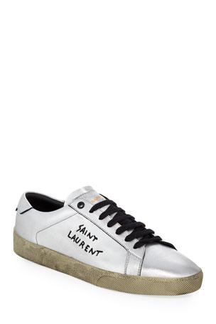 Saint Laurent Men's Low-Top Metallic Leather Sneaker