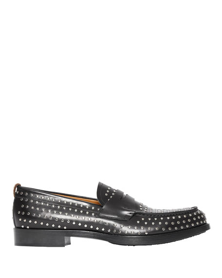 Burberry Men's Emile Studded Leather Penny Loafers