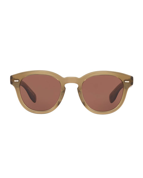 Oliver Peoples Men's Round Thick Acetate Sunglasses