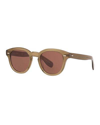 Men's Round Thick Acetate Sunglasses