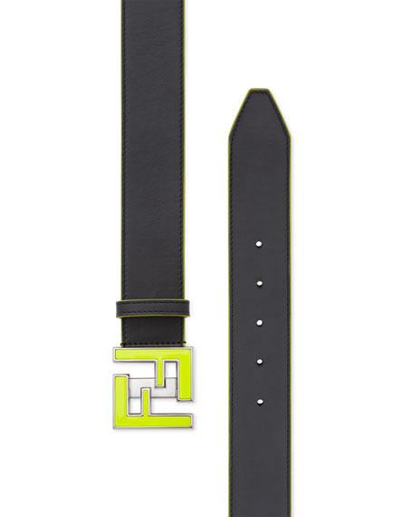 Fendi Men's Neon FF Calf Leather Belt