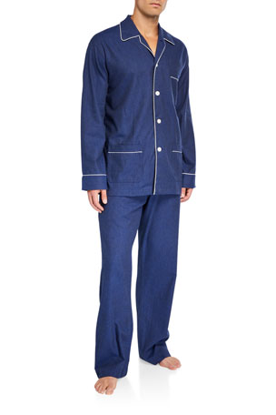 Derek Rose Men's Balmoral 3 Cotton Pajamas w/ Piping