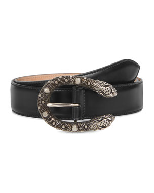 d6357b3e4e0 Gucci Men s Dionysus Leather Belt with Ornate Silvertone Buckle