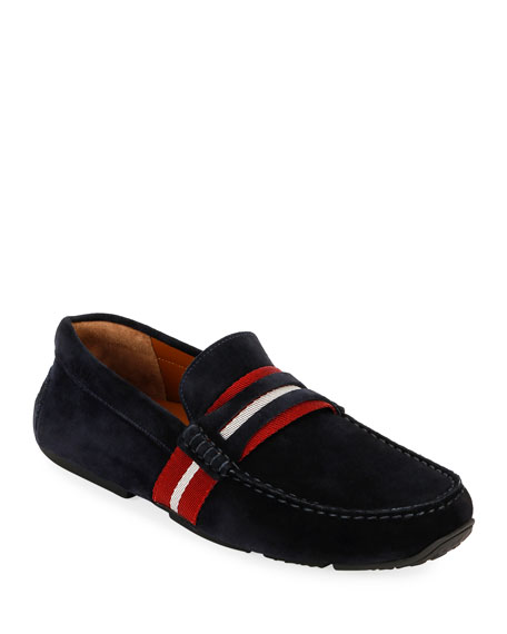 Bally Men's Pietro Webb Suede Drivers w/Trainspotting Strap