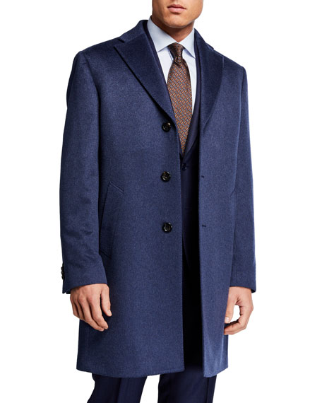 Neiman Marcus Men's Heathered Cashmere Topcoat