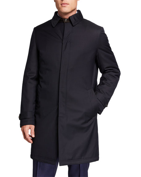 Neiman Marcus Men's Midnight Storm System Wool Trench Coat