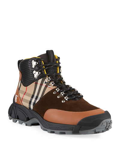 Men's Vintage Check/Leather Hiking Boots