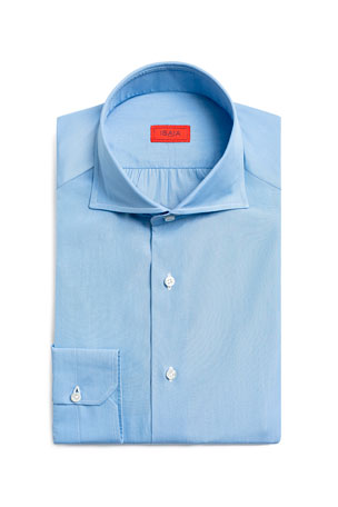 Isaia Men's Textured Poplin Dress Shirt