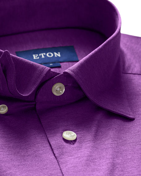 Eton Men's Jersey Point-Collar Sport Shirt