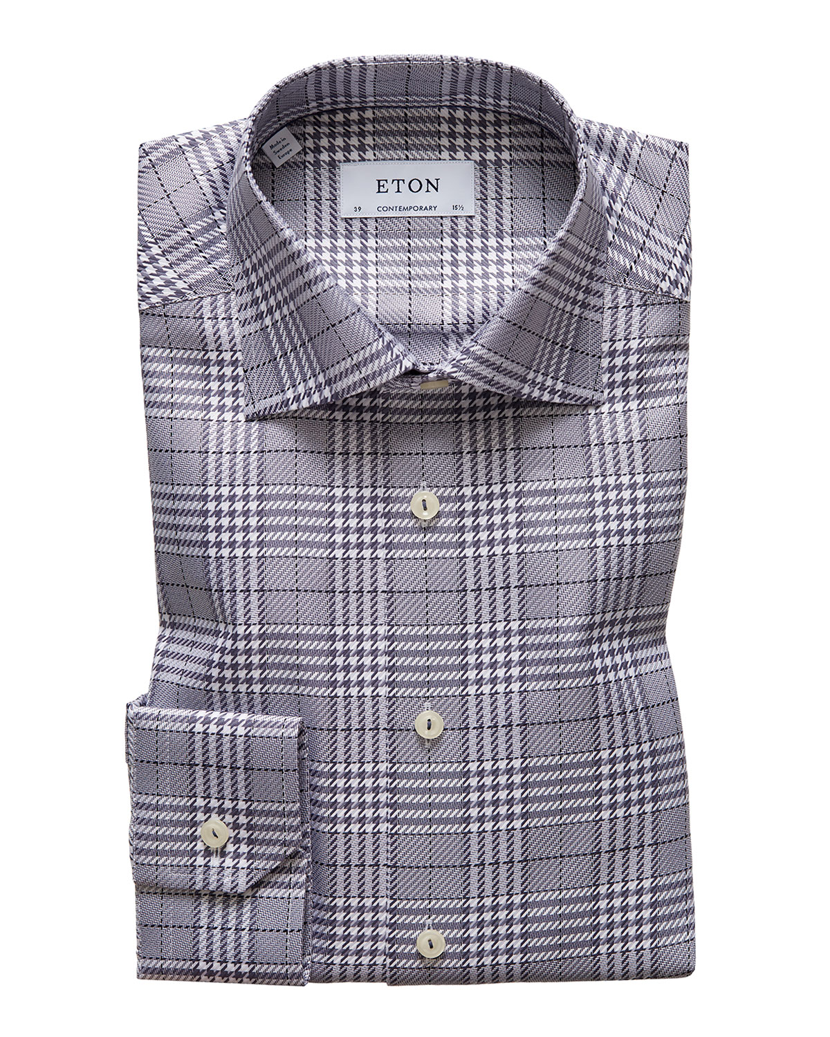 Eton Men's Contemporary Textured Houndstooth Dress Shirt