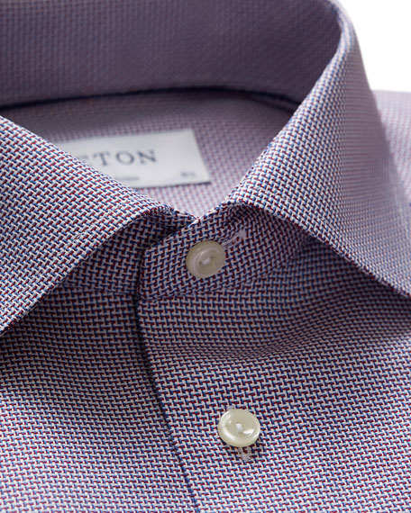 Image 2 of 3: Eton Men's Contemporary Textured Solid Dress Shirt