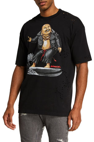 Domrebel Men's Zen Crystal Box Graphic T-Shirt w/ Holes