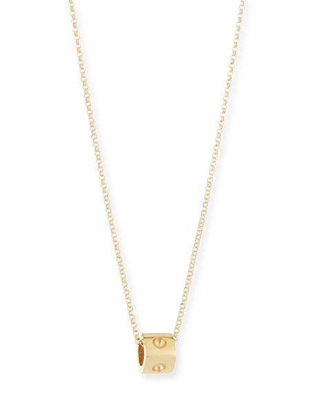 18K Yellow Gold Mini Pois Moi Cube Necklace