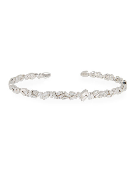Tilted Baguette Diamond Bangle in 18K White Gold