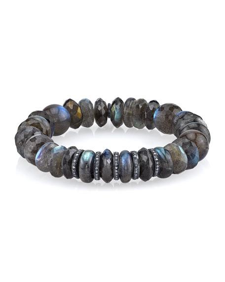 Labradorite Mixed-Bead Bracelet w/ Diamonds