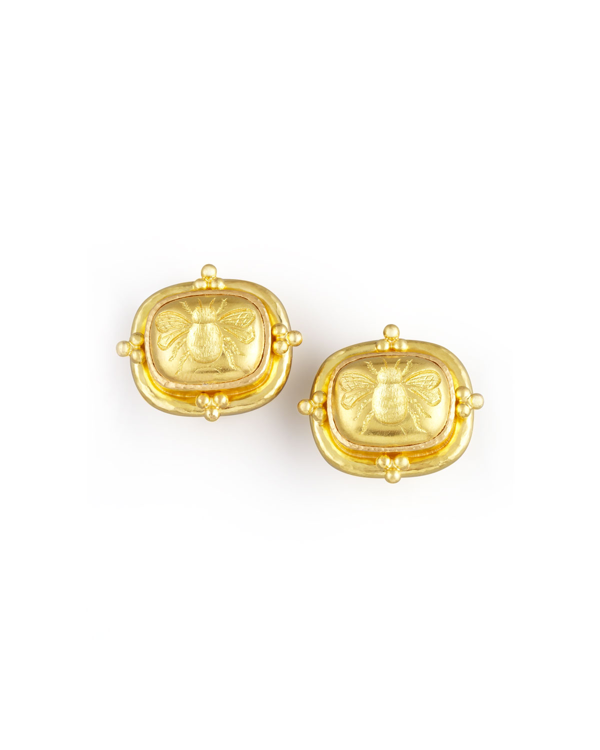 19k Gold Bee Clip Post Earrings