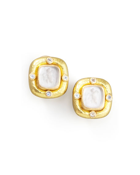 Putto Intaglio Clip/Post Earrings, Crystal