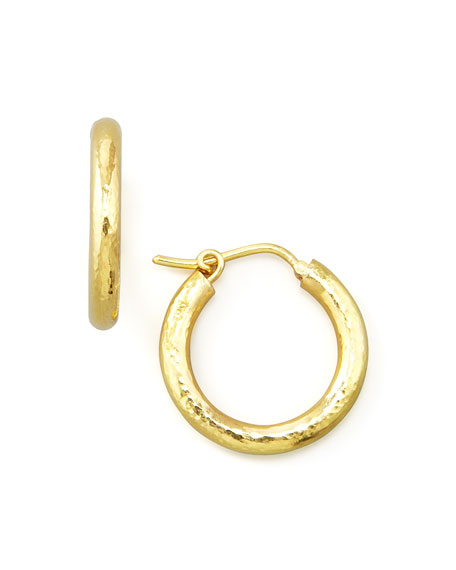 Small Hammered Gold Hoop Earrings, 3/4""