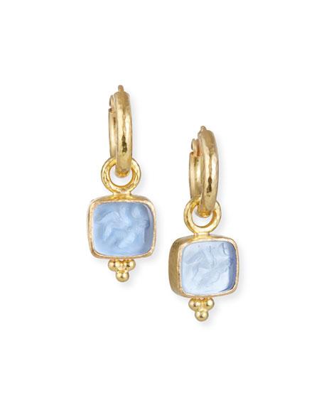 Cerulean Pegasus, Goddess & Moon Intaglio Earring Pendants