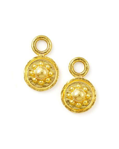 19k Gold Daisy Disc Earring Pendants