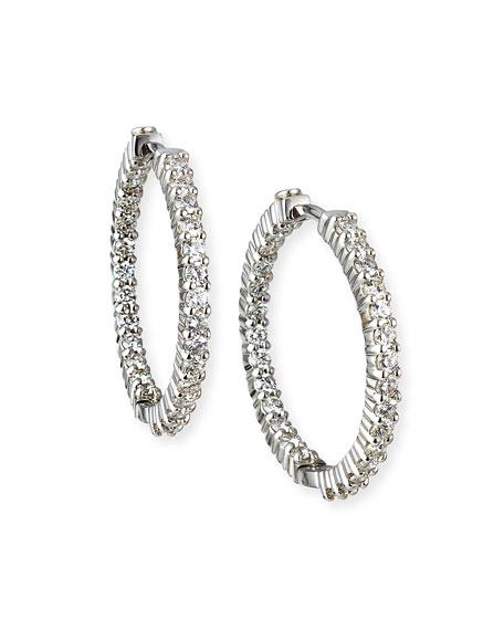Roberto Coin 25mm White Gold Diamond Hoop Earrings, 1.53ct