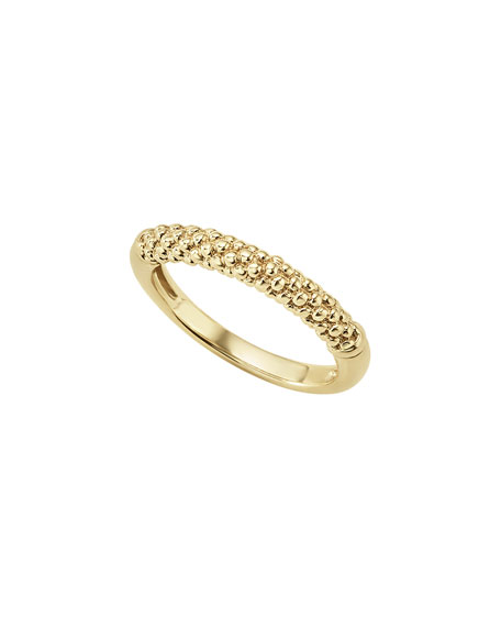 18k Caviar Beaded Ring, Size 7