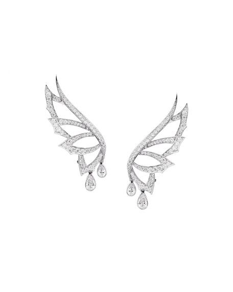 Magnipheasant Pave Diamond Wing Stud Earrings