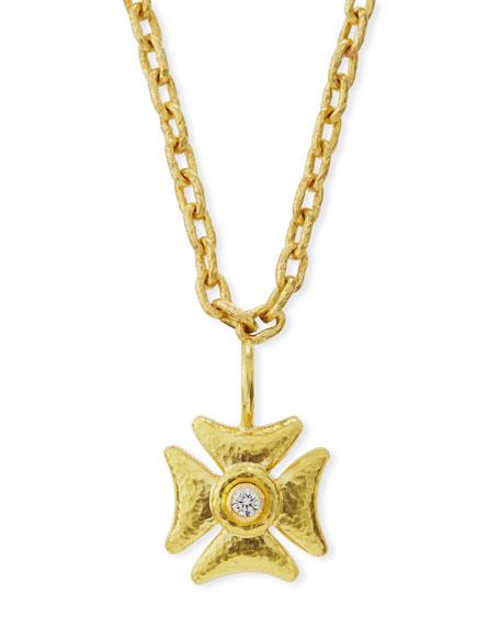 Elizabeth Locke Small Diamond Maltese Cross Pendant